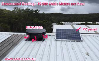 Warehouse roof heat extraction.